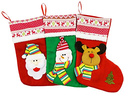 Winterlace Christmas Stockings, 3 Pack Xmas Holiday Decoration Plush Cartoon Santa Snowman, Cute Bulk Pack, Large (3 Pack Assorted 14