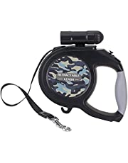 SlowTon Retractable Dog Leash, 26ft Pet Walking Leash with 9 LED Detachable Flashlight for Medium Large Dog up to 100lbs, with Hand Grip One Button Brake & Lock and Hook