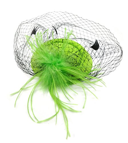 Ahugehome Fascinator Hair Clip Headband Pillbox Hat Vintage Flower Feather Tea Party (R Light Green) by Ahugehome