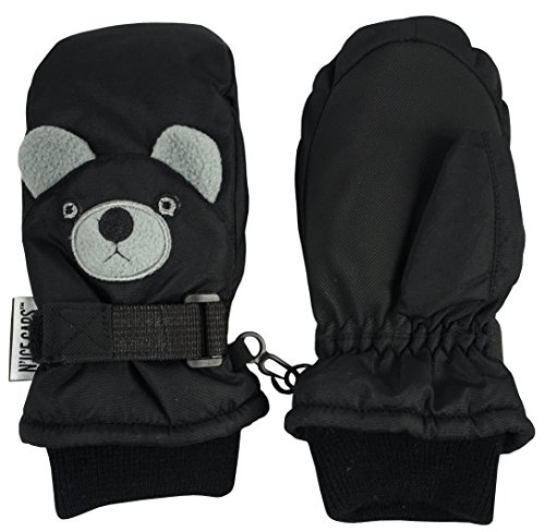 Face Mittens (N'Ice Caps Little Kids Squeaky Sound Cute Animal Face Waterproof Mittens (4-6 Years, Puppy Black))