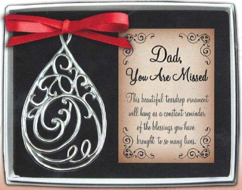 Filigree Christmas Cards - Cathedral Art TDO102 Dad Teardrop Memorial Ornament, 3-5/8-Inch
