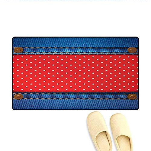 Door-mat,Jeans Pockets Frame Print with Little Polka Dots Traditional European Art Design,Door Mats for Inside Bathroom Mat Non Slip,Blue Red,Size:16