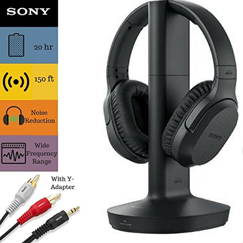 - Sony RF995RK Headphone & Cable Bundle – Wireless RF Headphones Feature 150-Foot Range, Noise Reduction, Volume Control, Voice Mode, 20-Hr Battery Life – 6-ft 3.5mm Stereo/2 RCA Plug Y-Adapter for TV,