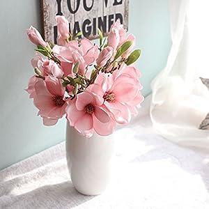 Inverlee Artificial Flowers Magnolia Fake Flowers Leaf Floral Wedding Bridal Bouquet DIY Home Garden Decor 4