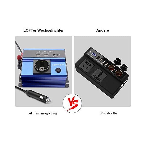 519b4bRFmQL LOFTer 300W Auto Wechselrichter LED Anzeige KFZ Spannungswandler DC 12V auf AC 230V Power Inverter mit 2 USB Anschlüsse…