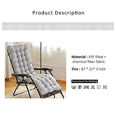 cherry Juilt Lounge Chair Cushions with Cap Patio Chaise Lounge Cushion Solid Color Mattress for Garden Outdoor Indoor Sun Lounger 67-Inch (Grey with Cap) : Garden & Outdoor