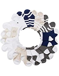 Infant Boys 10 Pk All Weather Multicolored Low Cut Socks for 6-12 and 12-24 Mon (See More Colors Designs and Sizes)