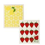 Wet-It Swedish Dishcloth Set of 2 (Strawberries and Lemons - Strawberry Lemonade)