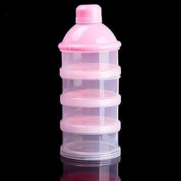 Dispensador de f/órmula de leche en polvo para beb/é Pink apilable 3 compartimientos Biber/ón de almacenamiento de alimentos para beb/és Contenedor de leche en polvo para alimentaci/ón infantil