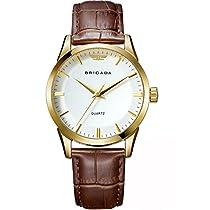 BRIGADA Classic Gold Mens Quartz Wrist Watch Swiss Brand Business Casual Waterproof Watches for Men with Calendar