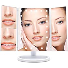 Wondruz [2018 Upgraded Version] Lighted Makeup Mirror, 24 Led Lights Vanity Mirror with Lights and Magnification (2x/3x), Touch Screen, 180° Rotation,Dual Power Supply, Trifold Mirror (White)