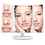 #6: Wondruz [2018 Upgraded Version] Lighted Makeup Mirror, 24 Led Lights Vanity Mirror with Lights and Magnification (2x/3x), Touch Screen, 180° Rotation,Dual Power Supply, Trifold Mirror (White)