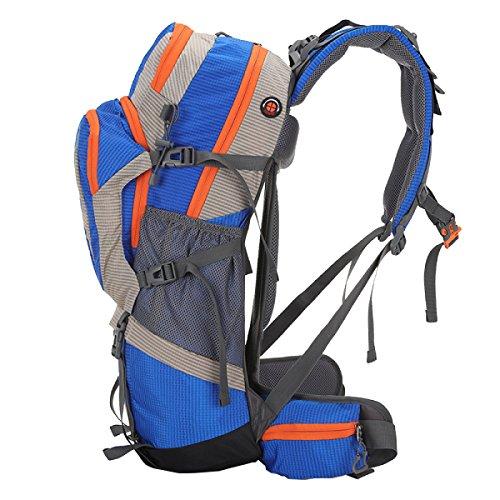 Xin.S50L Bolsa De Montaña Trekking Al Aire Libre Hombros Bolsa De Viaje Nylon Impermeable Multi-funcional Suspensión De La Mochila De Soporte. Multicolor Blue