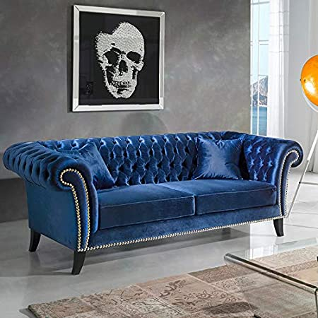 Divano Chesterfield 3 Posti.M 030 Divano Chesterfield 3 Posti In Velluto Blu Klein Amazon It