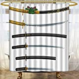 Mikihome Shower Curtain Collection by Set of Curved Slender Single Edged Blade Swords