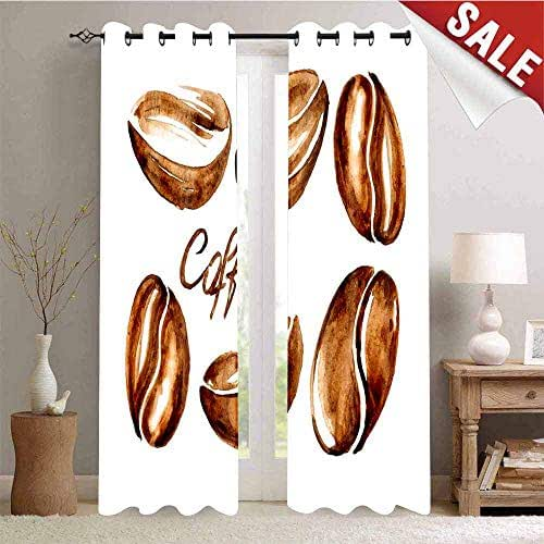 Kresdy Direct Coffee Blackout Curtains - Gasket Insulation Watercolor Effect Beans Breakfast Drink Brush Strokes Pattern Abstract Artistic Blackout Curtains for The Living Room Caramel White