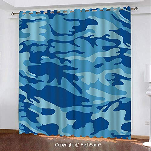 (FashSam Thermal Insulated Blackout Curtains Abstract Camo Navy Military Costume Concealment from The Enemy Hiding Window Curtains for Living)