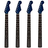 Wholesale Gloss Blue Electric Guitar Neck 22 Frets Rosewood Fretboard Replacement 4pcs