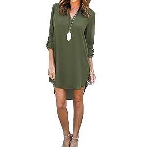 FCYOSO Womens Loose Shirt Sexy Chiffon Tops V-Neck Long Sleeve Blouse Green (US,S/Asia,M)