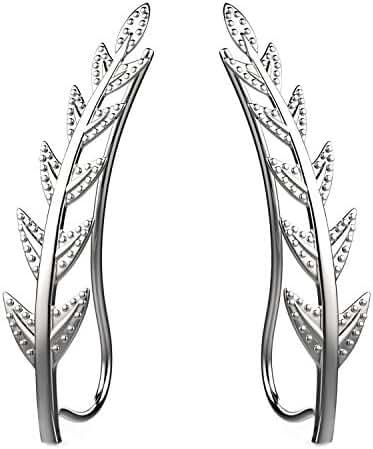 Feramox Ear Crawler Cuff Earrings Sterling Silver Ear Climber Studs Olive Leaf Hypoallergenic