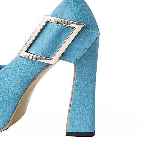 VogueZone009 Womens Open Peep Toe High Heel Platform Chunky Heels PU Solid Sandals, Blue, 5 UK