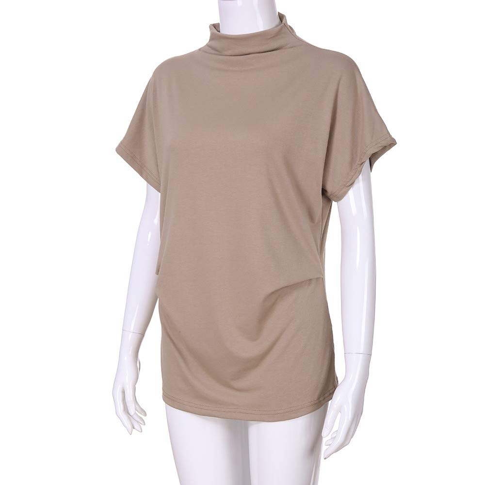 TWGONE Cap Sleeve Tops For Women Plus Size Turtleneck Solid Casual Blouse Top T Shirt (XXXXX-Large,Khaki) by TWGONE (Image #4)