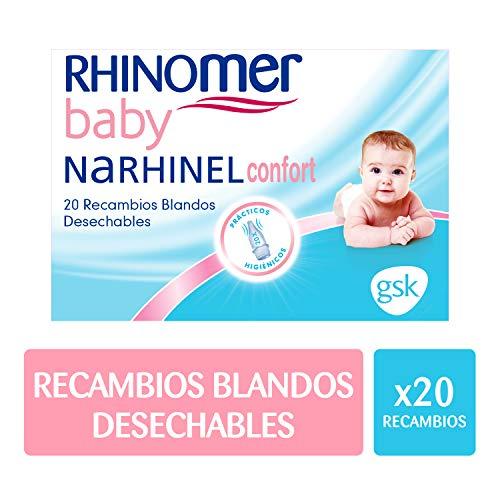 https://images-na.ssl-images-amazon.com/images/I/21CKRHDJcmL.jpg,Rhinomer Baby - Recambios blandos desechables para Narhinel Confort aspirador nasal - 20 unidades