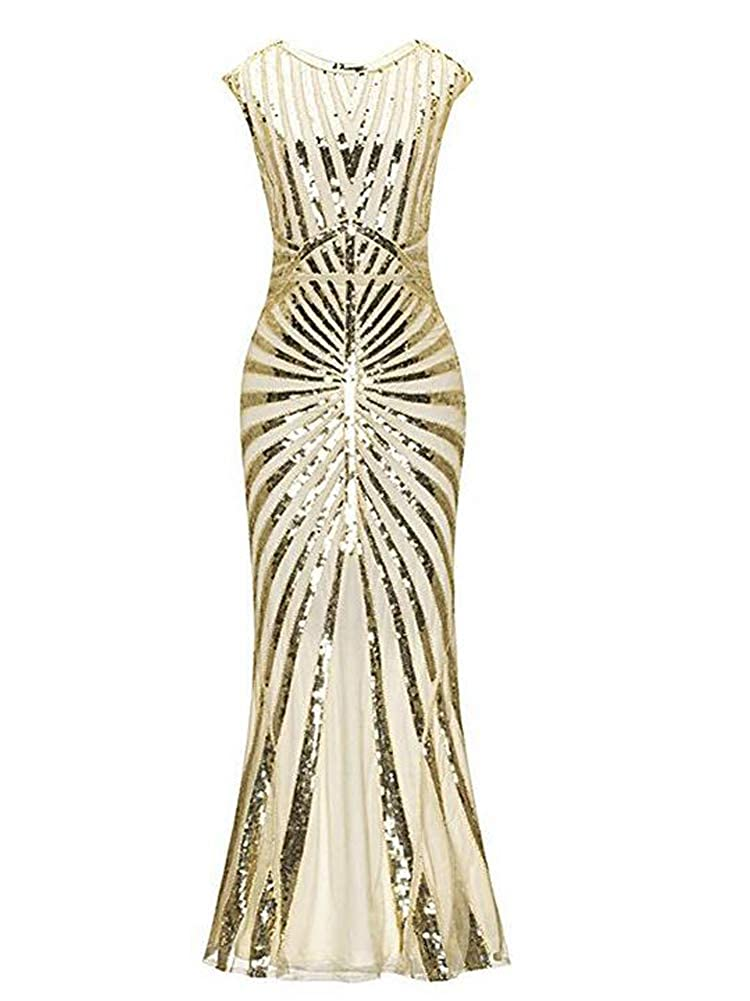 4e5deb42f9 Formal Evening Gatsby Dress 1920s Sequin Mermaid Formal Long Flapper Gown  Party  Amazon.co.uk  Clothing