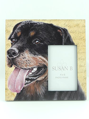 Perfect Gift For Rottweiler Lovers. A Photo Frame Holds A 4 X 6 Picture. The Rottweiler Dog Frame By Susan B Has The Appearance Of A Water Color Painting. Picture