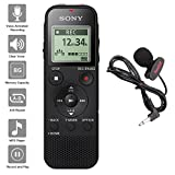 Sony Voice Recorder ICD-PX Series with Built-in Mic and USB, microSD Card Slot Up to 32 GB to Expand Memory, Adjustable Microphone Range, Includes A NeeGo Lavalier Lapel Mic