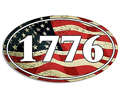 (OVAL USA Flag BG 1776 Sticker (patriotic patriot american molon)- Sticker Graphic Decal )