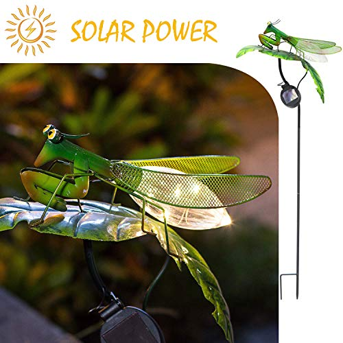 Mantis on the Leaf-HAPJOY Garden Solar Lights Outdoor,Metal Solar Pathway LED Stakes Waterproof for Patio Lawn Walkway