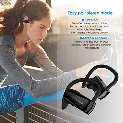 Running Headphones,Syllable Wireless Bluetooth Earbuds with Mic V 5.0 Hi-Fi Stereo Richer Heavy Bass Noise Cancelling Headsets Sweatproof Secure Fit in Ear 6 Hours Battery by Syllable (Image #3)