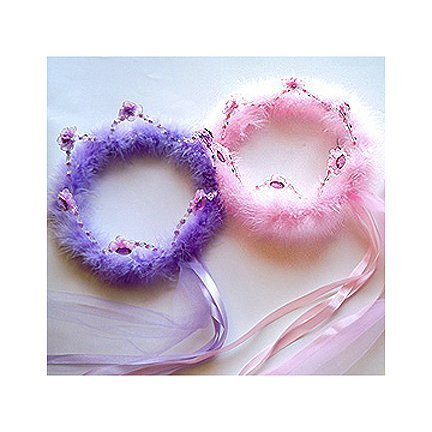 Princess Beaded Crown with Feather Select Color: purple