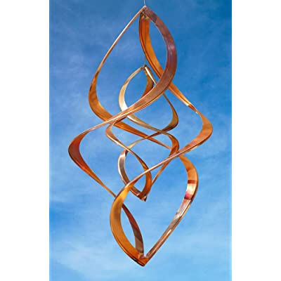 Handcrafted Double Infinity Copper Wind Sculpture by American Artist Neil Sater, 20 in : Garden & Outdoor