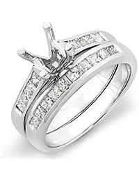 0.50 Carat (ctw) 14K Gold Princess Diamond Ladies Semi Mount Engagement Ring Set 1/2 CT