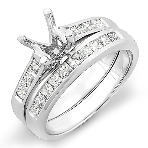 Dazzlingrock Collection 0.50 Carat (ctw) 14K Princess Diamond Semi Mount Engagement Ring Set 1/2 CT, White Gold, Size 9.5