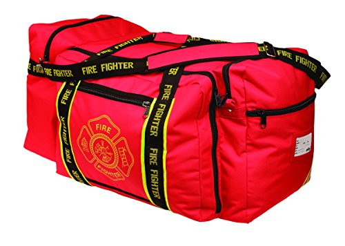 "OccuNomix OK-3000 Large Gear Bag, ""Firefighter"" Woven In Reflective Trim Along Bag Straps, Maltese Cross Logo, 3 Compartments with 2 Outside Zip Pockets, 29"" x 17"" x 16"", Red"