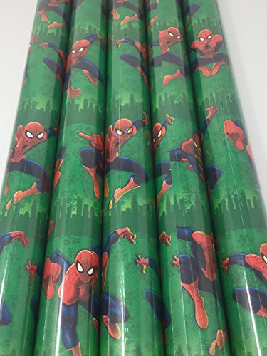 Gift Wrap - Spider-man Themed Green Gift Wrapping Paper - 1 Roll - 20 sq feet]()