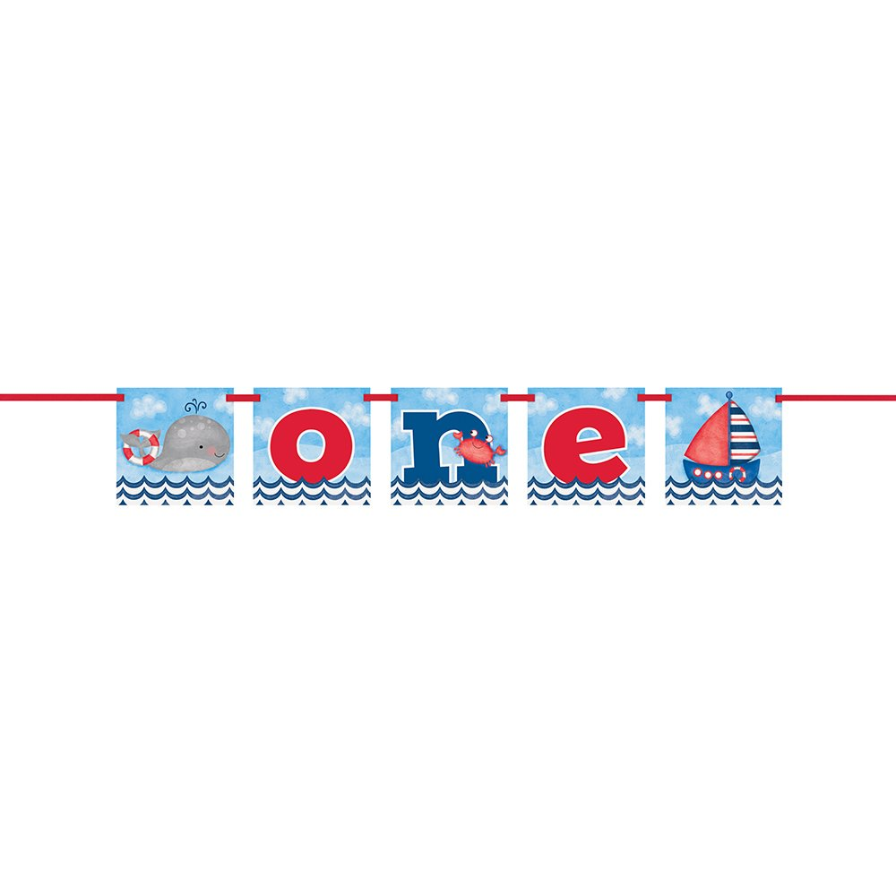Unique Party 58178 - 4ft One Nautical Boys 1st Birthday Banner