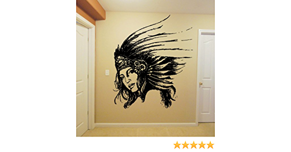 Wall Window Decal Sticker Native Indian Scull Warrior Warbonnet Hat Feather Tribal Boys Kids Teenager Room Decor 1166b