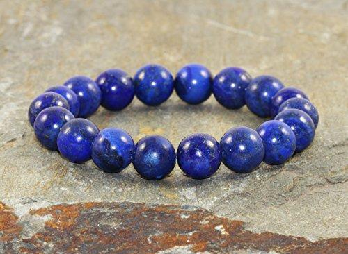 - 10mm Lapis Lazuli Bracelet, Throat Chakra Jewelry, Wrist Mala Beads, Stress Relief-Feminine Power- Communication-Emotionally Soothing