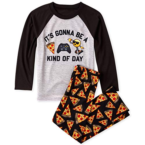 The Children's Place Big Boys Long Sleeve Printed Pajama Set, Black_ Pizza Emoji, S (5/6)