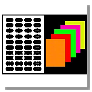 Shape-2 label sticker, multi-shape & size (see image), fluorescent paper color, A4 (8.27