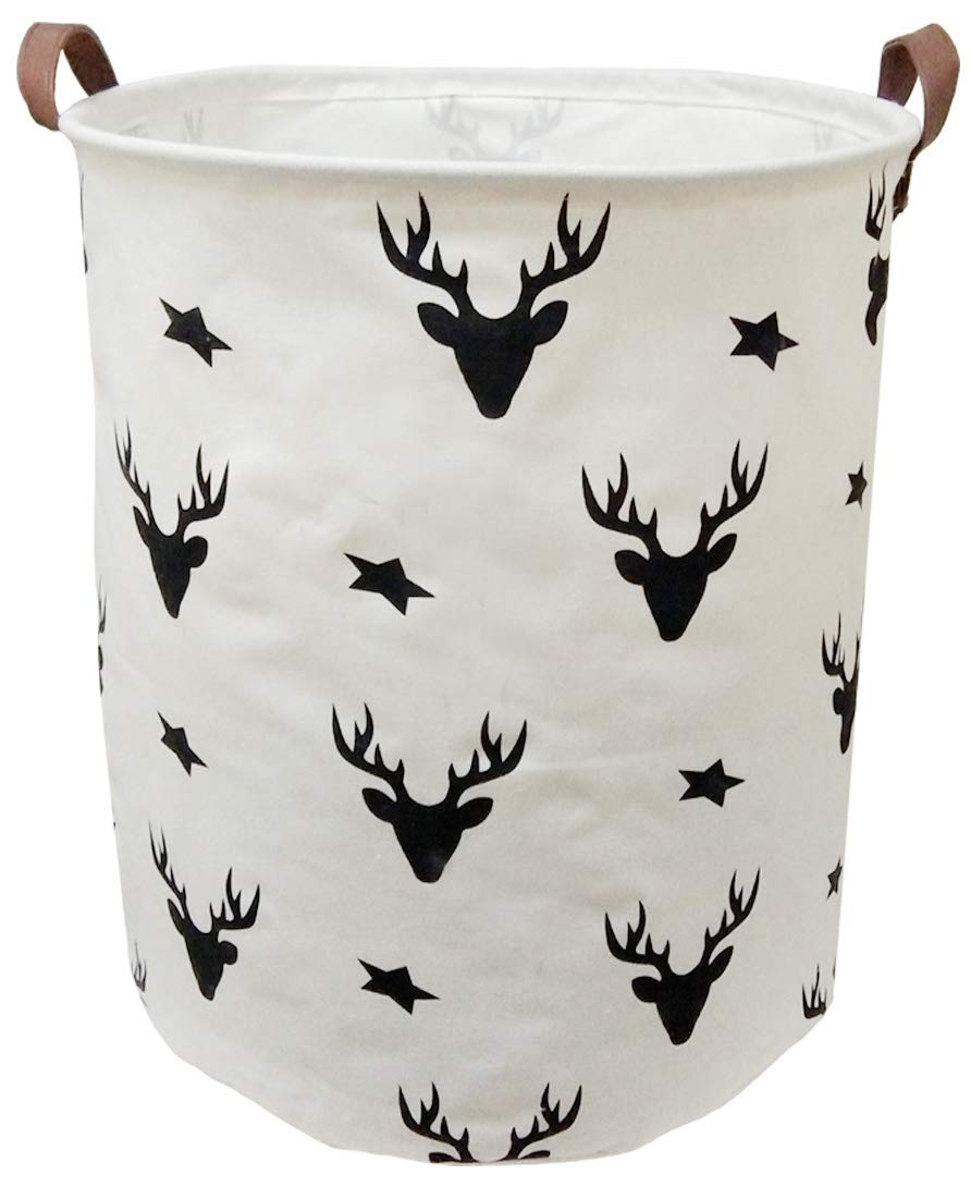 BOOHIT Cotton Fabric Storage Bin,Collapsible Laundry Basket-Waterproof Large Storage Baskets,Toy Organizer,Home Decor (Deer Head)