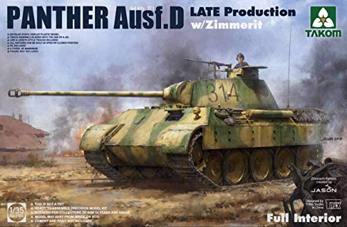TAK02104 1:35 Takom Sd.Kfz.171 Panther Ausf.D Late Production with Full Interior & Zimmerit [Model Building KIT] (Kfz.171 Sd Panther)