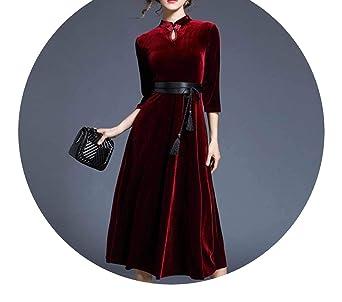 New Year Cheongsam Red Maxi Vestidos Mujer Invierno Long Velvet Dress Vestido Longo K8704 at Amazon Womens Clothing store: