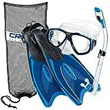 Cressi Palau Long Fins, Focus Mask, Dry Snorkel, Snorkel Set, Blue ML