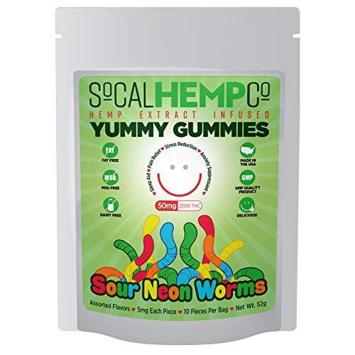 SoCalHempCo - Yummy Gummies - 50mg Hemp Extract Infused Gummy Candy - Sour Neon Worms - Assorted Flavors