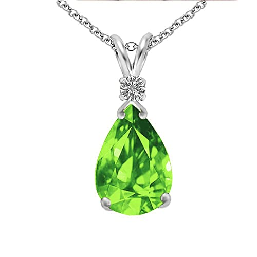 Voss Agin 2.5 CTW Peridot and Genuine Diamond Pendant in Sterling Silver, 18